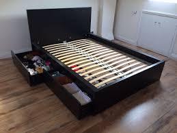 ikea malm double bed frame comes with slats u0026 2 roll out storage