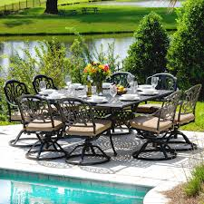 Swivel Rocker Patio Dining Sets Rosedown 9 Cast Aluminum Patio Dining Set With Swivel