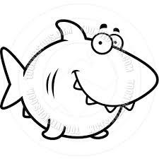 cartoon shark smiling black and white line art by cory thoman