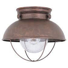 Outdoor Flush Mount Lighting Fixtures Sea Gull Lighting Sebring Weathered Copper Led Outdoor Ceiling