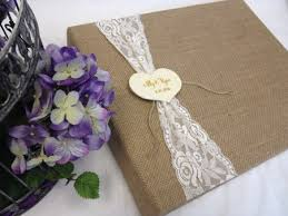 personalized scrapbook lace and burlap scrapbook album with personalized tag