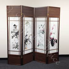 tri fold room divider 4 folding screen panels divider walnut frame chinese floral print