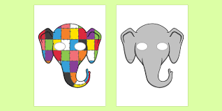 Patchwork Elephant Book - play masks to support teaching on elmer elmer elmer the