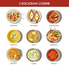 cuisine caucasienne cuisine caucasienne réglée avec les plats traditionnels plat de