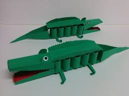 kids art and craft how to make 3d paper crocodile youtube
