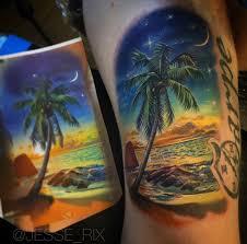 Tropical Themed Tattoos - rear view mirror nature scene best tattoo design ideas
