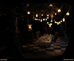 night time tea party love the lanterns hatter halloween