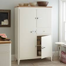 mid century white wooden kitchen pantry cabinet freestanding with drawers jpg