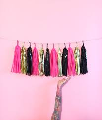 pink garland bachelorette party tassel garland hot pink gold and black