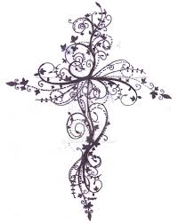 ribbon around stone cross tattoo design in 2017 real photo