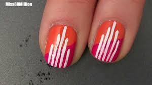 pink orange art deco free hand nail art tutorial youtube