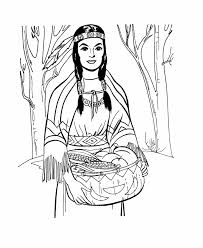 pilgrim thanksgiving coloring page sheets native american woman
