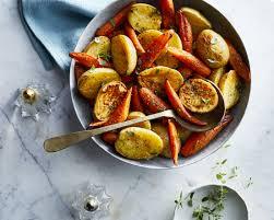 thanksgiving carrot side dish recipe oven roasted potatoes and carrots with thyme recipe myrecipes
