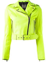 green motorcycle jacket muubaa cropped biker jacket in green lyst