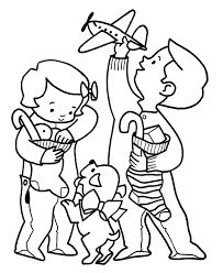 christmas morning coloring pages happy children coloring sheet