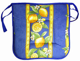 French Country Kitchen Chair Pads Provence Seat Pad With Ties Lemons Small Flowers X Blue