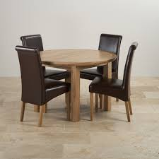 Round Extending Oak Dining Table And Chairs Knightsbridge Extending Dining Set Oak Table 4 Leather Chairs