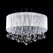 Crystal Drum Shade Chandelier Sheer Silver Organza Drum Shade Large Pendant Hanging Clear