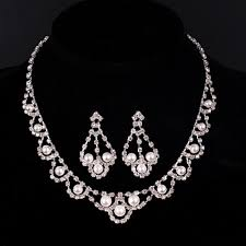 white colour necklace images Hot sought luxury white gold colour bridals wedding jewelry set jpg