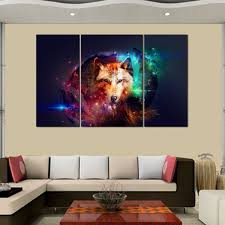 wolf home decor rain queen canvas print abstract colorful wolf oil paintings for