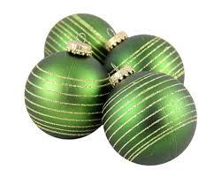 4ct green gold pinstripe shatterproof ornaments