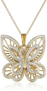 necklace with butterfly pendant images Yellow gold plated sterling silver diamond accented jpg