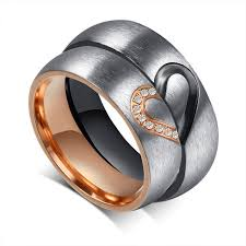 titanium gold rings images Romantic love heart black rose gold titanium steel cz promise ring jpg