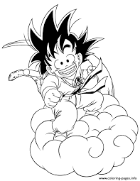 dragon ball kid goku riding cloud coloring coloring pages