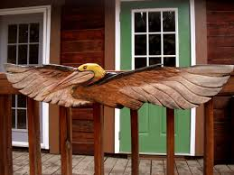 flying pelican sculpture 4ft chainsaw wood sea bird carving