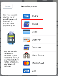 adding checks or a groupon as a payment type touchbistro
