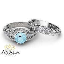 diamonds rings pictures images Aquamarine engagement ring set 14k white gold diamonds rings jpg