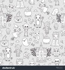 halloween seamless backgrounds happy halloween seamless pattern cute characters stock vector