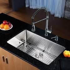 kraus 30 x 18 undermount kitchen sink with faucet and soap