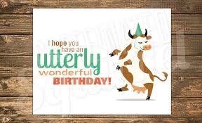 Cow Birthday Card Dancing Cow Birthday Card Happy Party Hat Utterly Utter