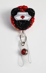 minnie mouse nurse black silhouette id badge reel rn id badge