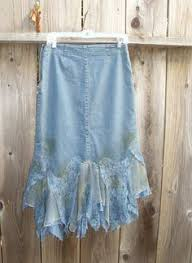Shabby Chic Skirts by Shabby Chic Funky Tattered Distressed Denim Lace Skirt Eco Fashion