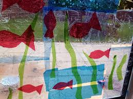 Kids Stained Glass Craft - window cling art cellophane on windows kids craft windows