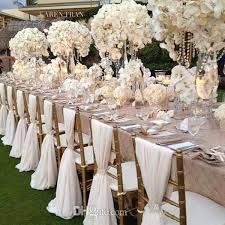 wedding decoration supplies 2016 white wedding chair covers chiffon material custom made 1 8 m