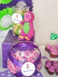 Diy Barney Decorations Barney Centerpieces For My Twin Girls 2nd Birthday Party Yes I
