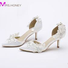 wedding shoes low heel pumps kitten heel pointed toe bridal shoes women white satin pumps