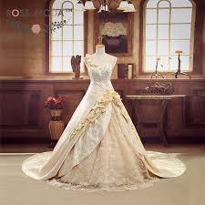 royal wedding dresses luxury chagne gold 3d roses royal wedding gown cathedral