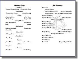 wedding bulletins exles wedding program templates from thinkweddings print your own