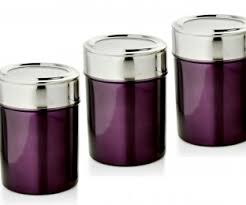 purple kitchen canister sets purple kitchen canisters dezinox purple stainless steel set of 3