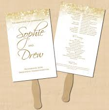 program fans white gold sparkles wedding program fan 5 5x8 5 text editable