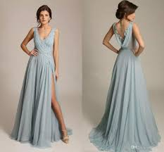 2017 dusty blue evening dresses v neck sleeveless appliques