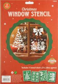 Christmas Windows Decorations Spray 1 X Pack Of 4 Plastic Christmas Window Stencils Home Spray Snow