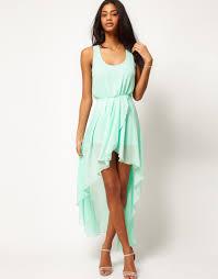 love chiffon wrap hi lo dress in green lyst