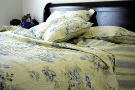 Blue Quilted Coverlet Dada Bedding Camellia Classic Floral Spring Pale Yellow U0026 Blue