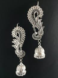 kaan earrings silver filigree odishi peacock kaan earrings in tarakasi from
