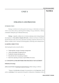 statement of purpose and objectives strategic management